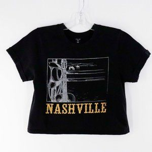 Vibe N' Cropped Black Nashville Shortsleeved Tshir